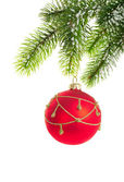 Spruce branch and red ball — Stock Photo