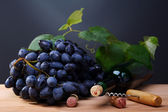 Black grapes, a bottle of wine and a corkscrew. — Stock Photo