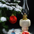 Christmas still life with balls and a lamp — Stock Photo