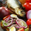 Sandwich with smoked herring. — Stock Photo