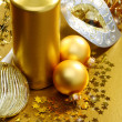 Golden Christmas still life. — Stock Photo #7759155