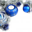 Christmas still life with blue balls and tinsel. — Stock Photo