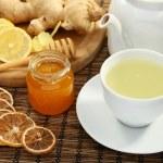 Сервированный столик с имбирным чаем с лимоном и медом, фото 2986969.
