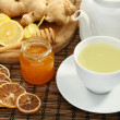 Stock Photo: Ginger tewith honey and lemon.