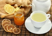Ginger tea with honey and lemon. — Stock Photo