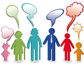 Family with speech bubbles — Stock Vector
