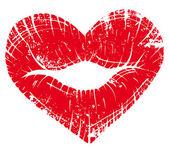 Labbro stampa cuore — Vettoriale Stock