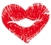 Lèvre impression coeur — Vecteur