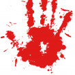 Red drop ink splatter hand print, blood splash vector. — Stock Vector