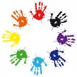 Prints of hands from ink colorful splash - Stock Vector
