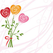 Flower background with rose like heart. — Stock Vector