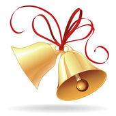 Campana de oro para la navidad o boda con lazo rojo — Vector de stock