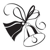 Bell sketch for Christmas or wedding with bow — Vector de stock