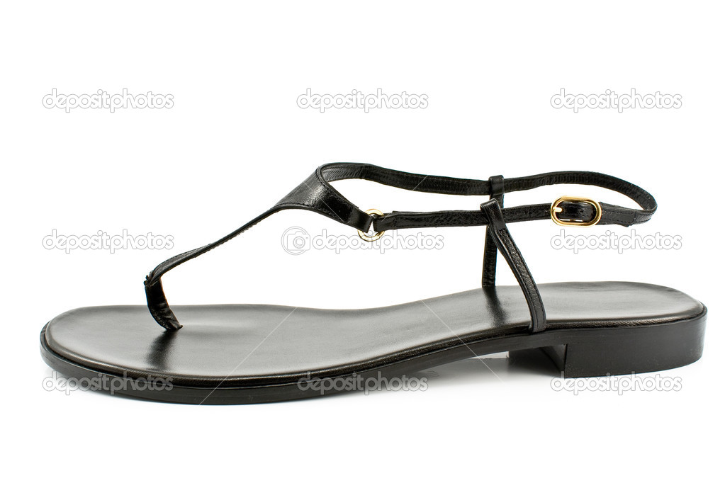 Black leather women's sandal shoe isolated on white  Zdjcie stockowe #6859255