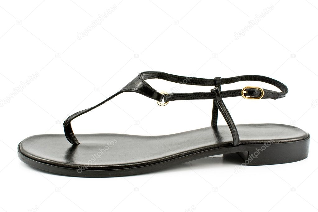 Black leather women's sandal shoe isolated on white — Foto Stock #6859255