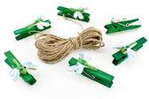 Houten wasknijpers versierd met libellen — Stockfoto
