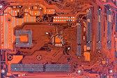 Röda dator kretskort — Stockfoto