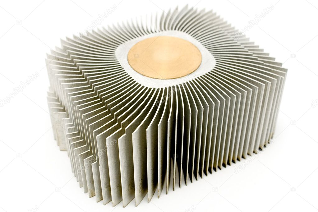 Aluminum cpu cooler heatsink isolated on white — Stock Photo #7149194