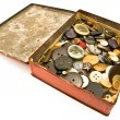 Stock Photo: Clothing buttons collection in red tin box