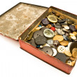 Clothing buttons collection in red tin box — Stock Photo