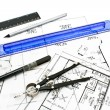 Stock Photo: House plblueprints with drawing tools