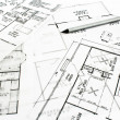 Stock Photo: House plblueprints with pencil