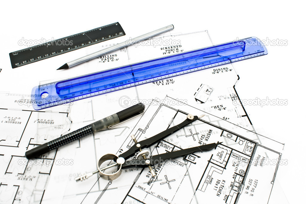 House Plan Blueprints With Drawing Tools Stock Photo