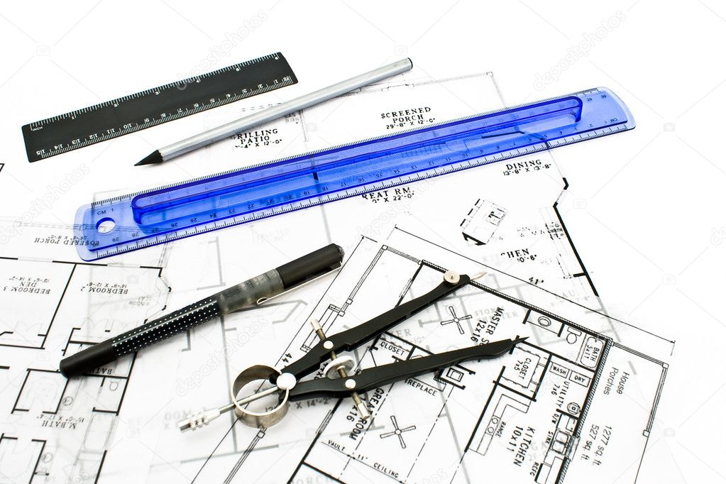House plan blueprints with drawing tools stock photo for Stock house plans