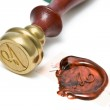 Personal stamp and wax seal — Stock Photo