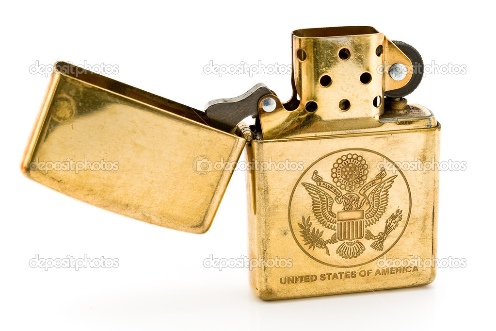 Golden lighter with carved United States seal isolated on  white — Stock Photo #7825085