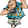 Stock Vector: Funny tourist with camera in vector