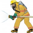Fireman in vector on white background - Stock Vector