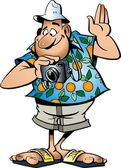Funny tourist with camera in vector — Stock Vector