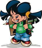 Small schoolgirl with briefcase in vector — Stock Vector