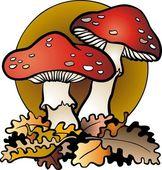 Mushrooms in vector — Stock Vector