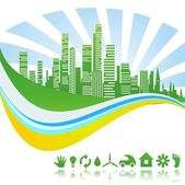 Ecological green clean city — Stock Vector