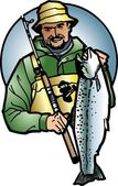 Fish fisherman in hand in vector — Stock Vector