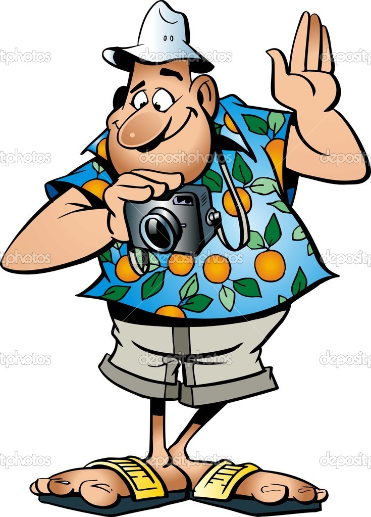 Funny tourist with camera in vector — Stock Vector ...