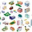 Vector city buildings icon set - Stock Vector