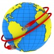 Red Internet cable wraps around the planet Earth — Stock Photo
