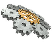 Group gears. Symbol leader in team work — Foto Stock