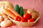 Mix of autumn vegetables on farmer market — Stock Photo