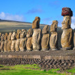 Fifteen moai at Tongariki, Easter Island — Stock Photo