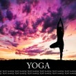 Yoga silhouette tree pose — Stock Photo #6871771