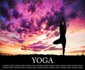 Yoga silhouette tree pose — Stock Photo