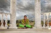 Yoga hand stand lotus pose — Stock Photo