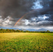 Rainbow under Grass field — Stock Photo