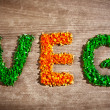 Stock Photo: Word veg from chopped vegetable pieces