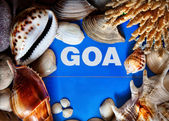Goa title in seashells frame — Stock Photo