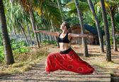 Yoga virabhadrasana II warrior pose — Stock Photo